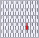 Abstract white bottles and a red one against grey background. 3d render stock illustration