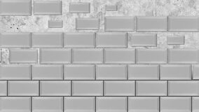 Abstract white bricks appearing and forming a wall on grey background. Animation. Flying same size rectangles stand in