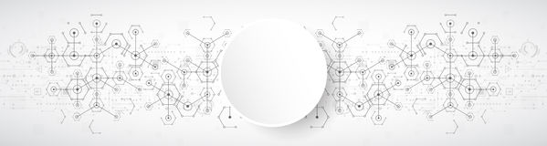 Abstract white bright technology hexagonal background Stock Image