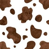 Abstract white and brown cow spots seamless pattern background