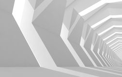 Abstract white cg background with empty tunnel. Interior perspective, 3d illustration Stock Images