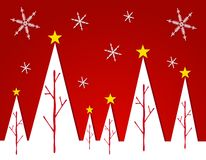 Abstract White Christmas Tree Card 2. A clip art illustration featuring a row of white  abstract Christmas trees decorated with stars set against red gradient Stock Photography