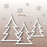 Abstract White Christmas Tree , Flat Design Royalty Free Stock Photography