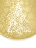 Abstract white christmas tree on golden. EPS 8 Royalty Free Stock Images
