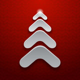 Abstract white christmas tree on red background Stock Photos