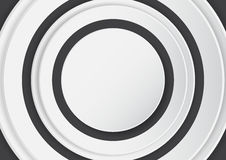 Abstract white circle on black background with paper art style. vector illustration