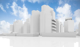 Abstract white cityscape over cloudy sky. Abstract contemporary cityscape over cloudy sky, houses, industrial buildings and office towers. 3d render illustration stock illustration
