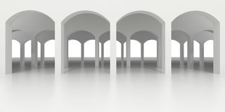 Abstract white classic arcade with several rows of arches. 3d illustration. Architectural background. Front view of an abstract white classic arcade with Stock Photos
