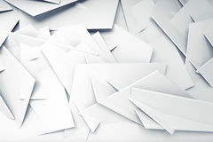 Abstract white computer graphic background. Wall made of chaotic polygonal elements. 3d illustration Royalty Free Stock Photos