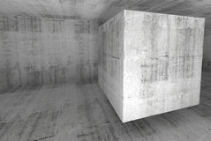 Abstract white concrete room 3d background with cube Royalty Free Stock Image