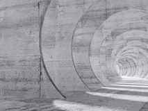 Abstract white concrete tunnel 3d interior. Abstract white concrete tunnel interior with perspective effect. 3d render illustration royalty free illustration