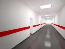 An abstract white corridor with red lines vector illustration
