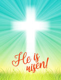 Abstract white cross with rays and text He is risen, christian easter motive, illustration Stock Photo