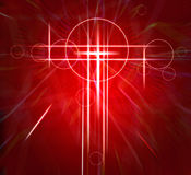 Abstract white cross on red texture moving fast background Stock Photography