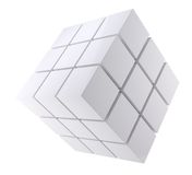 Abstract white cube Stock Images