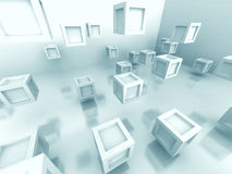 Abstract White Cube Blocks Background Stock Photo