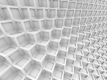 Abstract White Cube Shape Blocks Wall Background. 3d Render Illustration Royalty Free Stock Photography