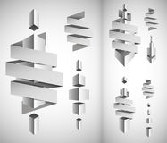 Abstract white cubes blank. Blank abstract white 3D cubes with tape for text vector illustration