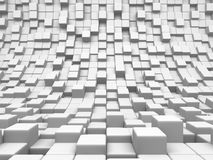 Abstract White Cubes Blocks Wall Background. 3d Render Illustration Royalty Free Stock Photos