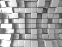 Abstract White Cubes Blocks Wall Background. 3d Render Illustration Stock Image