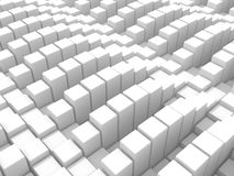 Abstract White Cubes Blocks Wall Background. 3d Render Illustration Stock Photos