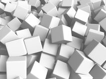 Abstract White Cubes Chaotic Background. 3d Render Illustration Royalty Free Stock Images