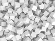 Abstract White Cubes Chaotic Background. 3d Render Illustration Stock Photography