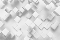 Abstract white cubes, 3d background. Abstract white graphic background made of white cubes, 3d illustration for different conceptual graphic design projects Stock Illustration