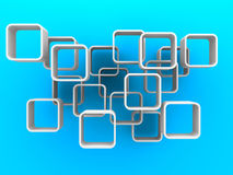 Abstract White Cubes Flow On Blue Background Stock Photo