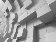 Abstract White Cubes Wall Background. 3d Render Illustration Stock Image