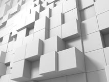 Abstract White Cubes Wall Background. 3d Render Illustration Stock Photo