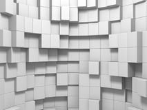 Abstract White Cubes Wall Background. 3d Render Illustration Royalty Free Stock Photos