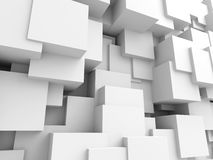 Abstract White Cubes Wall Background. 3d Render Illustration royalty free illustration