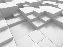 Abstract White Cubes Wall Background. 3d Render Illustration Royalty Free Stock Photo