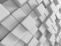 Abstract White Cubes Wall Background. 3d Render Illustration Stock Images