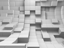 Abstract White Cubes Wall Background. 3d Render Illustration Royalty Free Stock Photography
