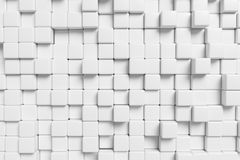 Abstract white cubes wall 3d background. Abstract white graphic wall background made of white cubes in front view, 3d illustration for different conceptual Stock Photography