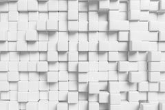 Abstract white cubes wall, 3d background. Abstract white graphic wall background made of white cubes in front view 3d illustration for different conceptual Stock Photo