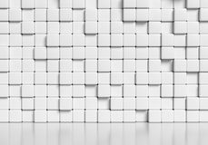 Abstract white cubes wall and glossy floor 3d illustration. Abstract white wall made of white cubes and smooth glossy floor with reflection, abstract simple 3d Stock Photo