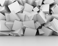 Abstract white cubes wall interior background. 3D rendering Royalty Free Stock Photography