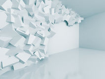 Abstract White Cubes Wall Room Architecture Background. 3d Render Illustration Royalty Free Stock Photo