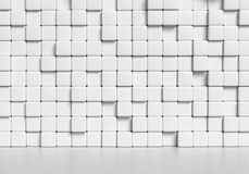 Abstract white cubes wall and smooth floor 3d illustration. Abstract white wall made of white cubes and smooth floor with reflection, abstract simple 3d Royalty Free Stock Photo