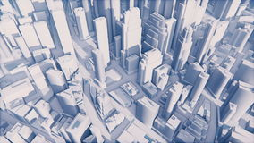 Abstract white 3D city. Abstract 3D city in one color - white. Camera moves from the bottom up. Realistic three dimensional animation