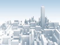 Abstract white 3d cityscape skyline illustration. Abstract schematic white 3d cityscape skyline with one the highest skyscraper Stock Images