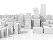 Abstract white 3d cityscape skyline on white. Abstract white 3d cityscape skyline with tall skyscrapers isolated on white background Royalty Free Stock Photography