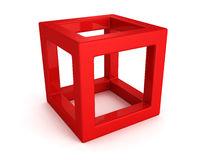 Abstract white 3d cube with shadow. 3d render illustration Stock Images