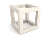 Abstract white 3d cube with shadow. 3d render illustration Stock Photography