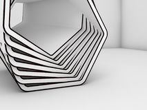 Abstract white 3d installation with black contours Stock Image