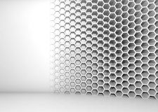 Abstract white 3d interior with honeycomb pattern Royalty Free Stock Images