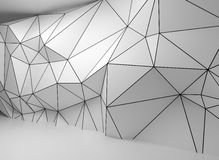 Abstract white 3d interior, polygonal wire-frame wall. Abstract white 3d interior with polygonal wireframe relief pattern on the wall vector illustration